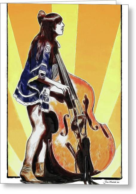 Playing Musical Instruments Greeting Cards - Base Player Greeting Card by Joan  Minchak