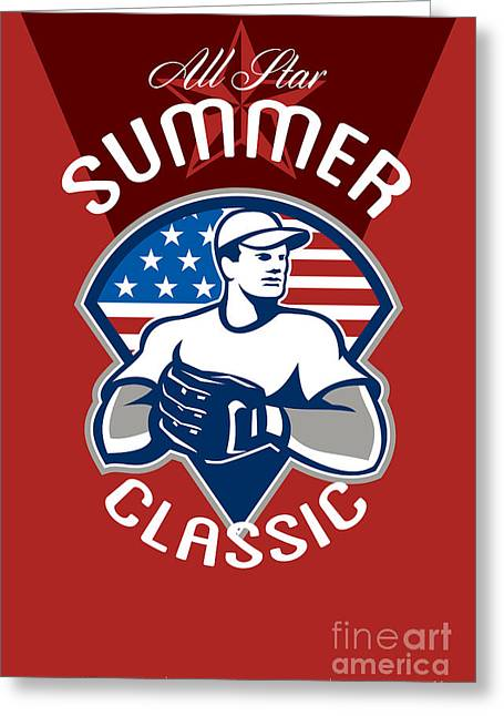 Baseball All Star Summer Classic Poster Greeting Card by Aloysius Patrimonio