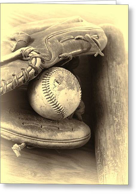 Baseball And Baseball Bat Greeting Card by Dan Sproul