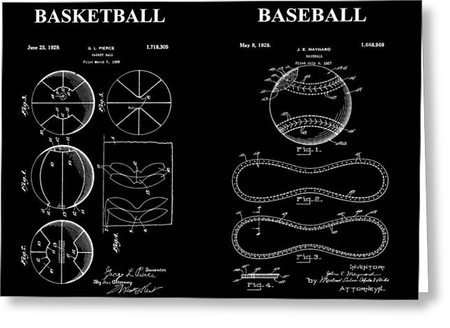 Slamdunk Greeting Cards - Baseball And Basketball Patent Greeting Card by Dan Sproul