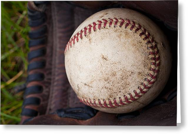 Baseball And Glove Greeting Card by David Patterson