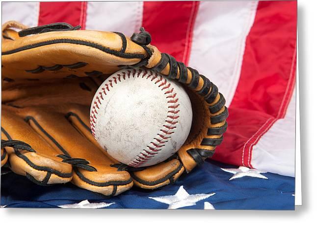 Baseball And Glove On American Flag Greeting Card by Joe Belanger