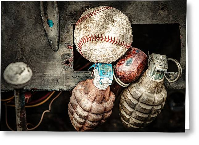 Baseball Photographs Greeting Cards - Baseball and Hand Grenades Greeting Card by Gary Heller