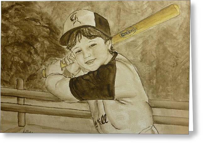 Baseball Cap Greeting Cards - Baseball at its best Greeting Card by Kelly Mills