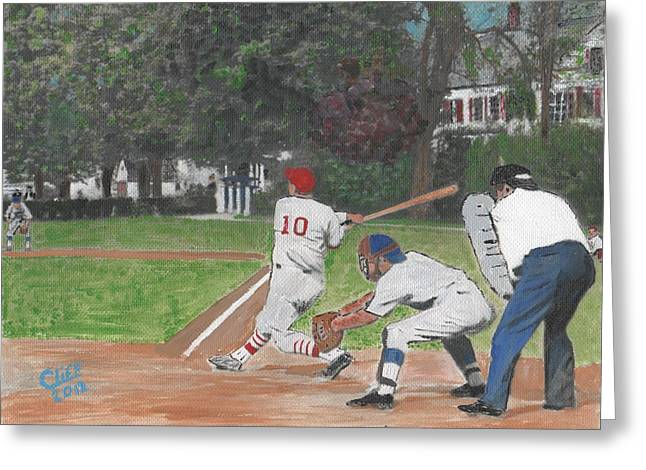 Youth League Greeting Cards - Baseball at Stone Park Greeting Card by Cliff Wilson