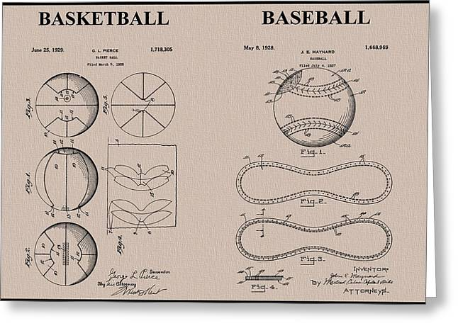Slamdunk Greeting Cards - Baseball Basketball Patent Neutral Greeting Card by Dan Sproul