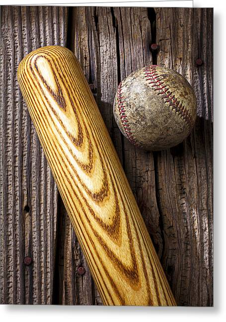 Rusty Nail Greeting Cards - Baseball bat and ball Greeting Card by Garry Gay