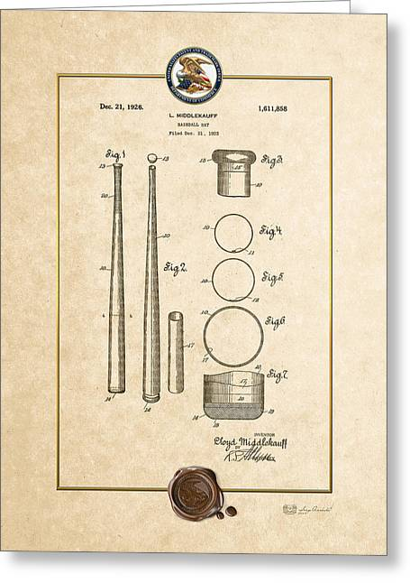 Baseball Memorabilia Greeting Cards - Baseball bat by Lloyd Middlekauff - Vintage Patent Document Greeting Card by Serge Averbukh