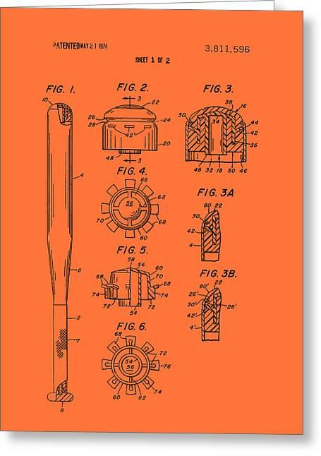 Baseball Bat Drawings Greeting Cards - Baseball Bat Construction Patent 1974 Greeting Card by Mountain Dreams