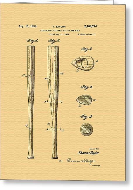Conferring Greeting Cards - Baseball Bat Patent - 1938 Greeting Card by Mountain Dreams