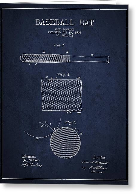 Baseball Bat Greeting Cards - Baseball Bat Patent Drawing From 1904 Greeting Card by Aged Pixel