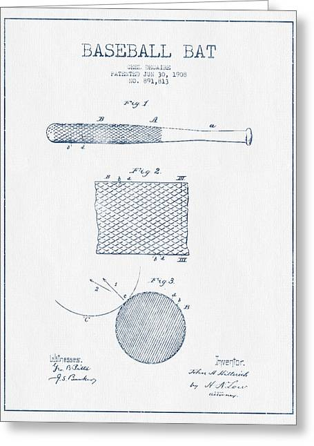 Baseball Glove Greeting Cards - Baseball Bat Patent Drawing From 1904 - Blue Ink Greeting Card by Aged Pixel