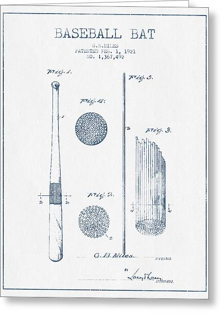 Baseball Glove Greeting Cards - Baseball Bat Patent Drawing From 1921 - Blue Ink Greeting Card by Aged Pixel