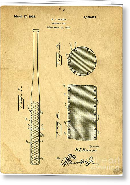 Sports Equipment Greeting Cards - Baseball Bat Patent Greeting Card by Edward Fielding