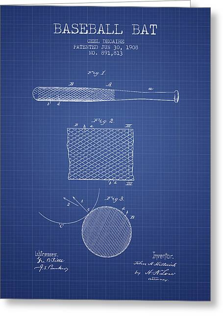 Baseball Glove Greeting Cards - Baseball Bat Patent From 1908 - Blueprint Greeting Card by Aged Pixel