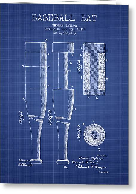 Baseball Glove Greeting Cards - Baseball Bat Patent from 1919 - Blueprint Greeting Card by Aged Pixel