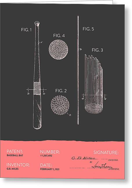 Glove Greeting Cards - Baseball Bat Patent From 1921 - Gray Salmon Greeting Card by Aged Pixel