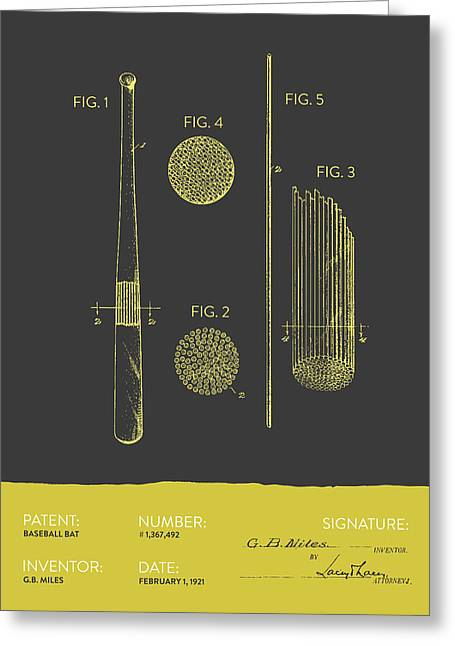 Baseball Glove Greeting Cards - Baseball Bat Patent From 1921 - Gray Yellow Greeting Card by Aged Pixel