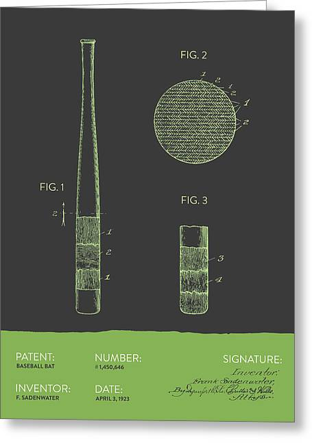 Baseball Art Digital Art Greeting Cards - Baseball Bat Patent From 1923 - Gray Green Greeting Card by Aged Pixel