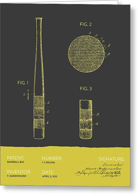 Baseball Glove Greeting Cards - Baseball Bat Patent From 1923 - Gray Yellow Greeting Card by Aged Pixel