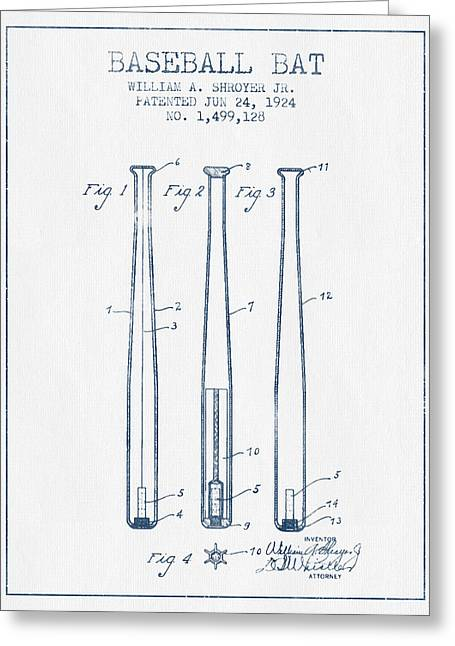Baseball Glove Greeting Cards - Baseball Bat Patent from 1924 - Blue Ink Greeting Card by Aged Pixel