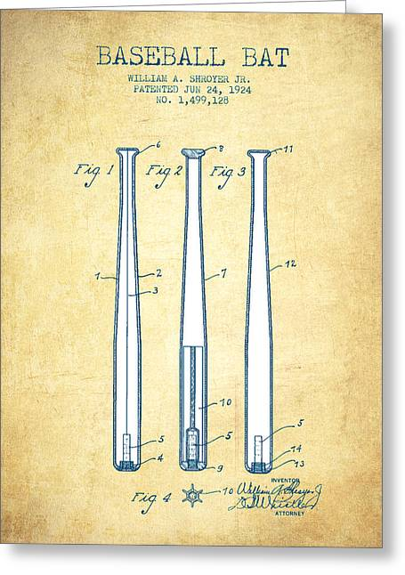 Mlb Art Greeting Cards - Baseball Bat Patent from 1924 - Vintage Paper Greeting Card by Aged Pixel