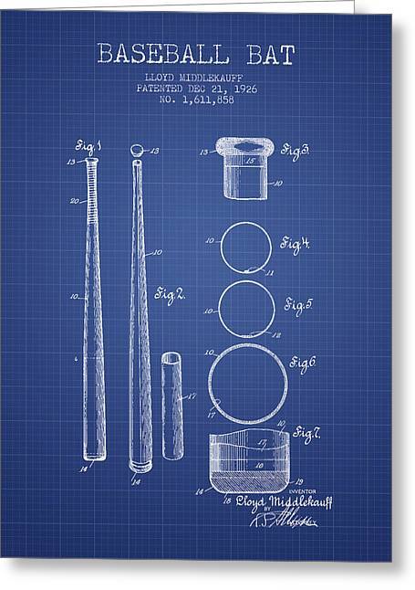Baseball Glove Greeting Cards - Baseball Bat Patent from 1926 - Blueprint Greeting Card by Aged Pixel
