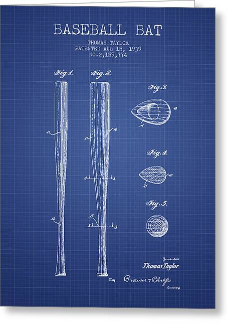 Baseball Glove Greeting Cards - Baseball Bat Patent from 1939 - Blueprint Greeting Card by Aged Pixel