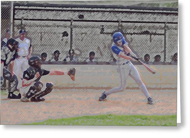 Softball Mitt Greeting Cards - Baseball Batter Contact Digital Art Greeting Card by Thomas Woolworth