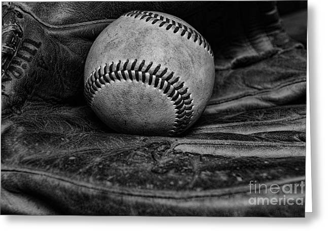 National Past Time Greeting Cards - Baseball broken in black and white Greeting Card by Paul Ward