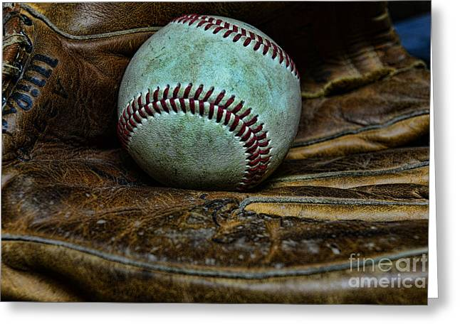 National Past Time Greeting Cards - Baseball broken in Greeting Card by Paul Ward