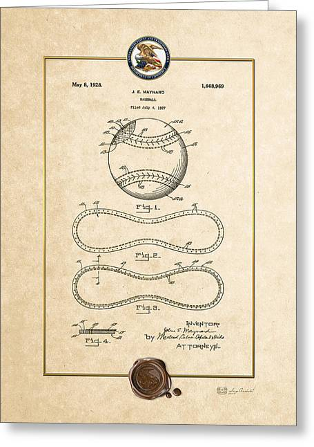 Sports Memorabilia Greeting Cards - Baseball by John E. Maynard - Vintage Patent Document Greeting Card by Serge Averbukh