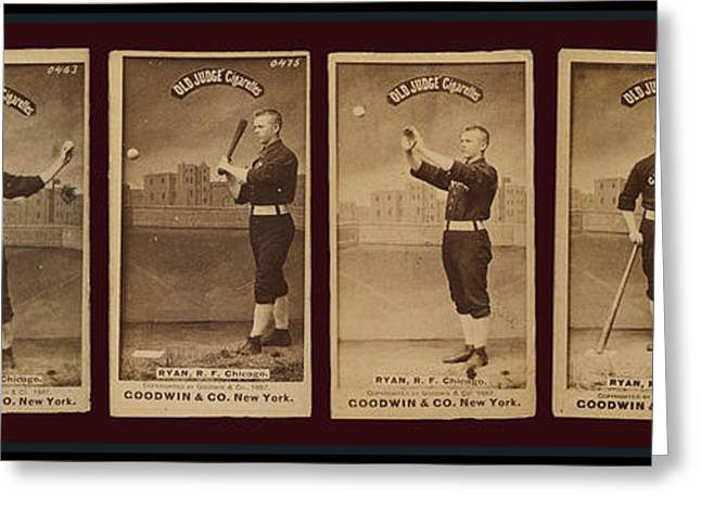 Baseball Bat Greeting Cards - Baseball Cards. Old Judge Cigarettes. Player R F Ryan Chicago 1887 Greeting Card by Pierpont Bay Archives