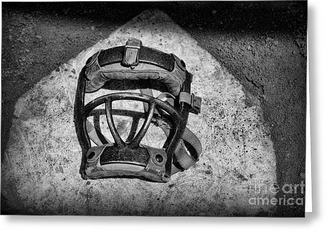 Baseball Art Greeting Cards - Baseball Catchers Mask Vintage in black and white Greeting Card by Paul Ward