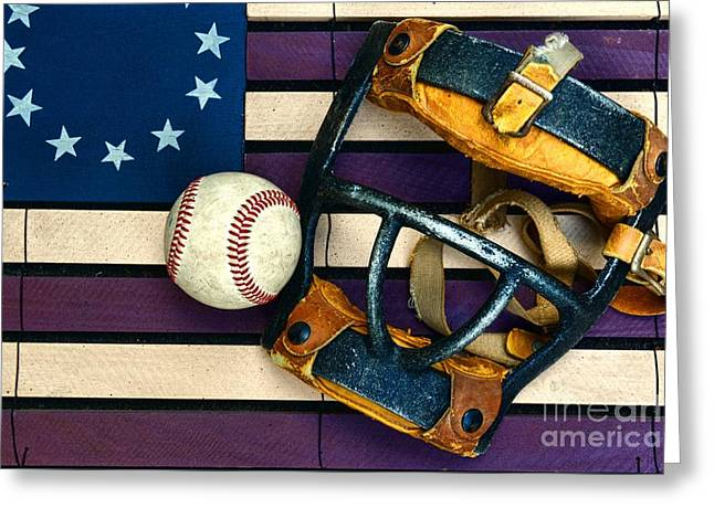 Baseball Photographs Greeting Cards - Baseball Catchers Mask Vintage on American Flag Greeting Card by Paul Ward