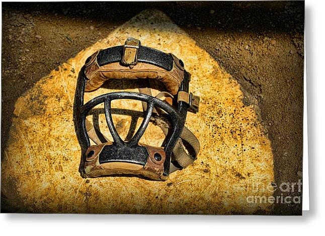 Baseball Art Greeting Cards - Baseball Catchers Mask Vintage  Greeting Card by Paul Ward