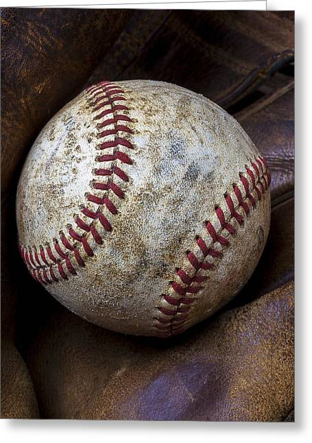 Glove Greeting Cards - Baseball Close Up Greeting Card by Garry Gay