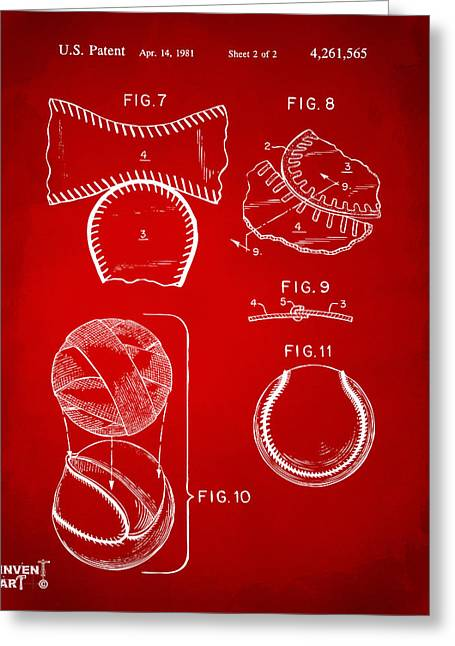 Diy Greeting Cards - Baseball Construction Patent 2 - Red Greeting Card by Nikki Marie Smith