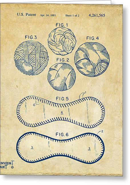 Diy Greeting Cards - Baseball Construction Patent - Vintage Greeting Card by Nikki Marie Smith