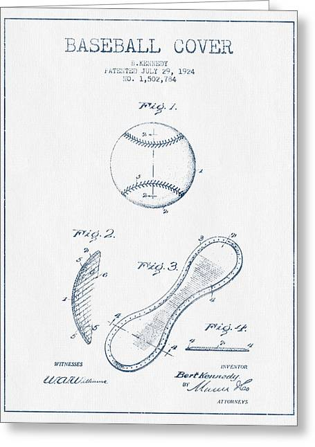 Glove Greeting Cards - Baseball Cover Patent Drawing From 1924 - Blue Ink Greeting Card by Aged Pixel