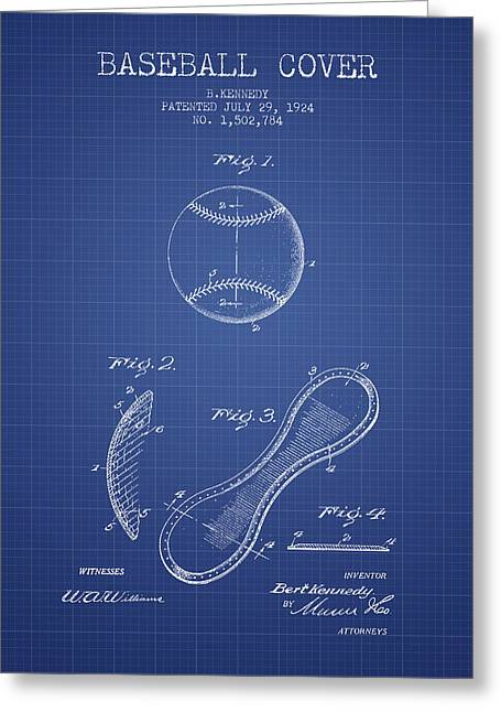 Baseball Glove Greeting Cards - Baseball Cover Patent From 1924 - Blueprint Greeting Card by Aged Pixel