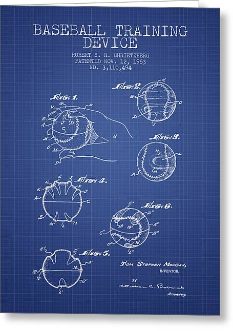 Baseball Glove Greeting Cards - Baseball Cover Patent From 1963- Blueprint Greeting Card by Aged Pixel