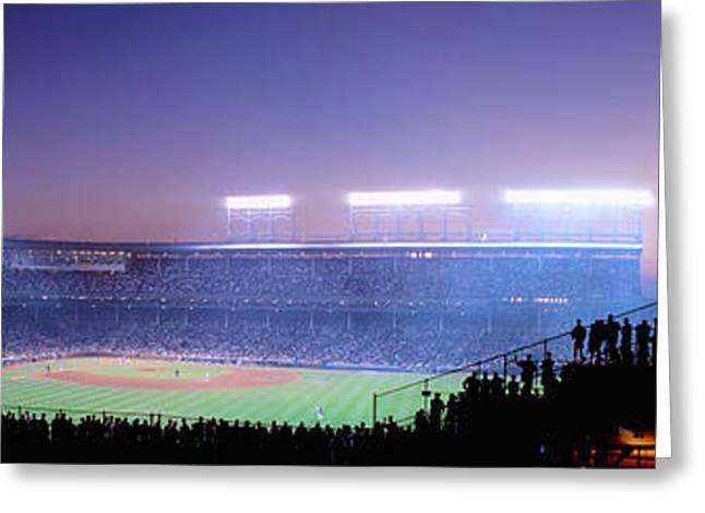 Chicago Cubs Stadium Greeting Cards - Baseball, Cubs, Chicago, Illinois, Usa Greeting Card by Panoramic Images