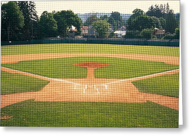 Baseball Stadiums Greeting Cards - Baseball Diamond Looked Greeting Card by Panoramic Images