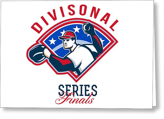 Divisional Greeting Cards - Baseball Divisional Series Finals Retro Greeting Card by Aloysius Patrimonio