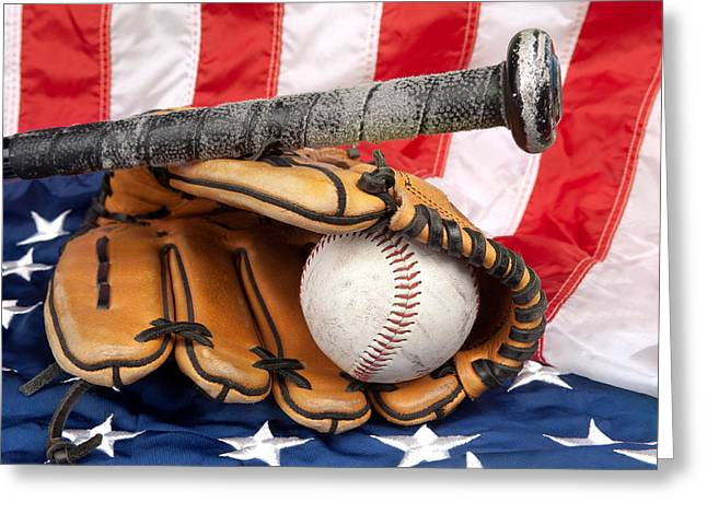 Baseball Equipment On American Flag Greeting Card by Joe Belanger