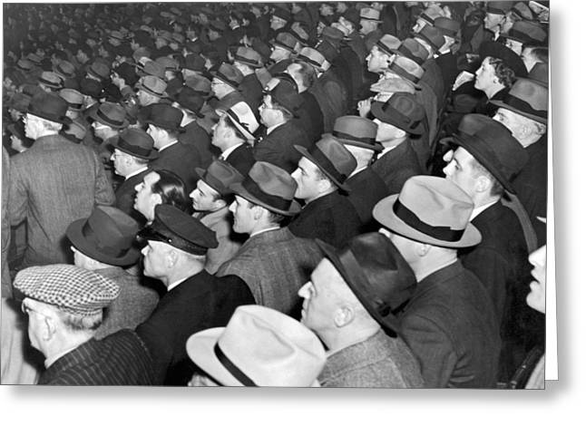 Baseball Fans At Yankee Stadium For The Third Game Of The World Greeting Card by Underwood Archives
