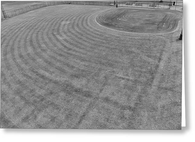 Ballgame Greeting Cards - Baseball Field In Black And White Greeting Card by Dan Sproul