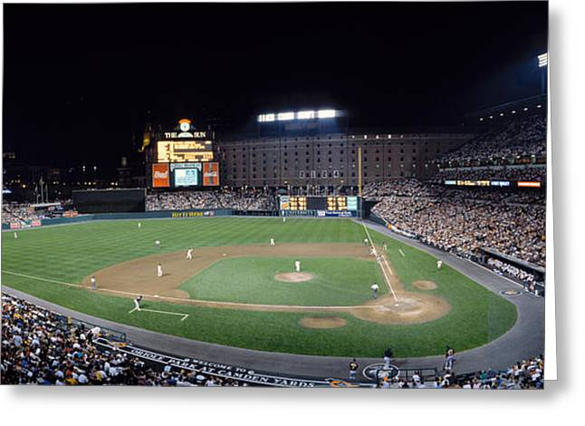 Baseball Game Camden Yards Baltimore Md Greeting Card by Panoramic Images