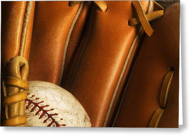 Baseball Glove And Baseball Greeting Card by Chris Knorr
